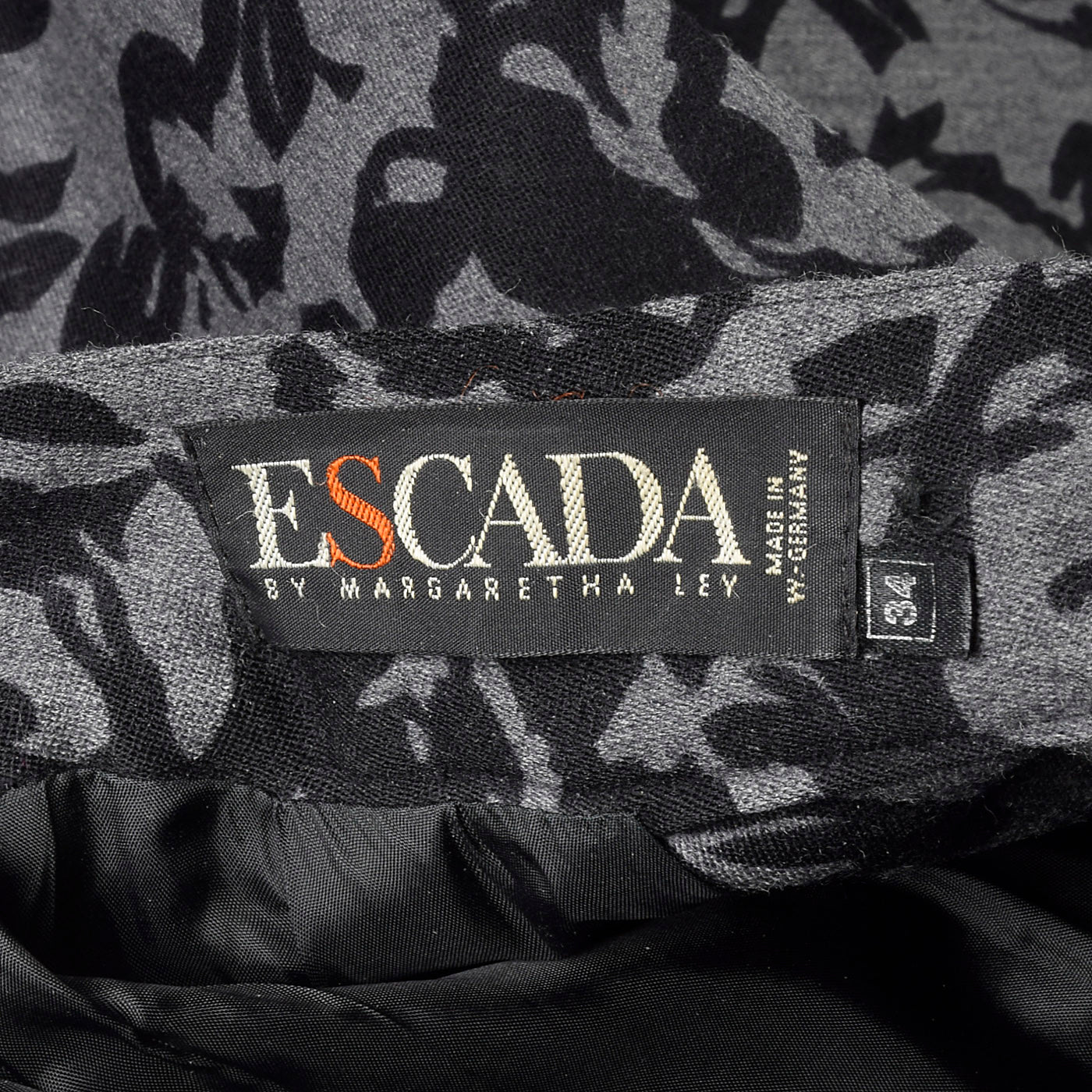 1980s Escada Gray and Black Wool Skirt