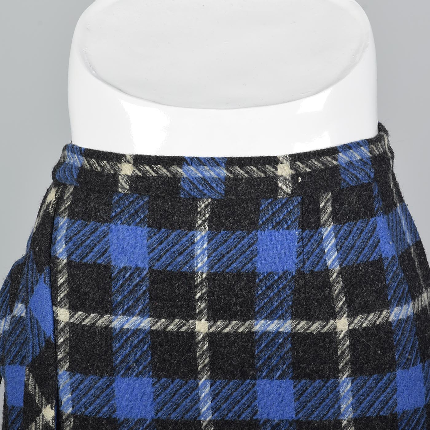 1950s Blue Tartan Plaid Wool Skirt