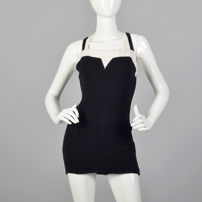 1960s Black Knit Swimsuit with White Trim