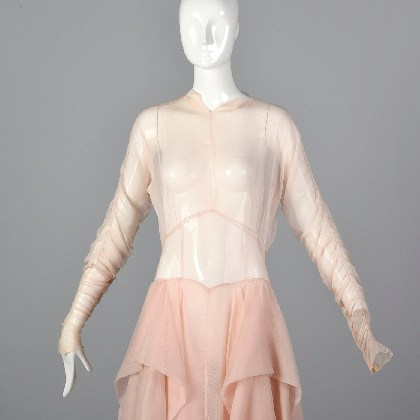 1950s Sheer Pink Dress with Draped Skirt