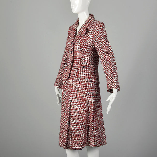 Small 1970s Red White and Blue Tweed Wool Skirt Suit