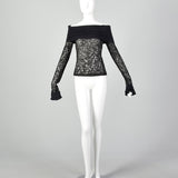 XS Dolce & Gabbana Off the Shoulder Black Sheer Lace Top
