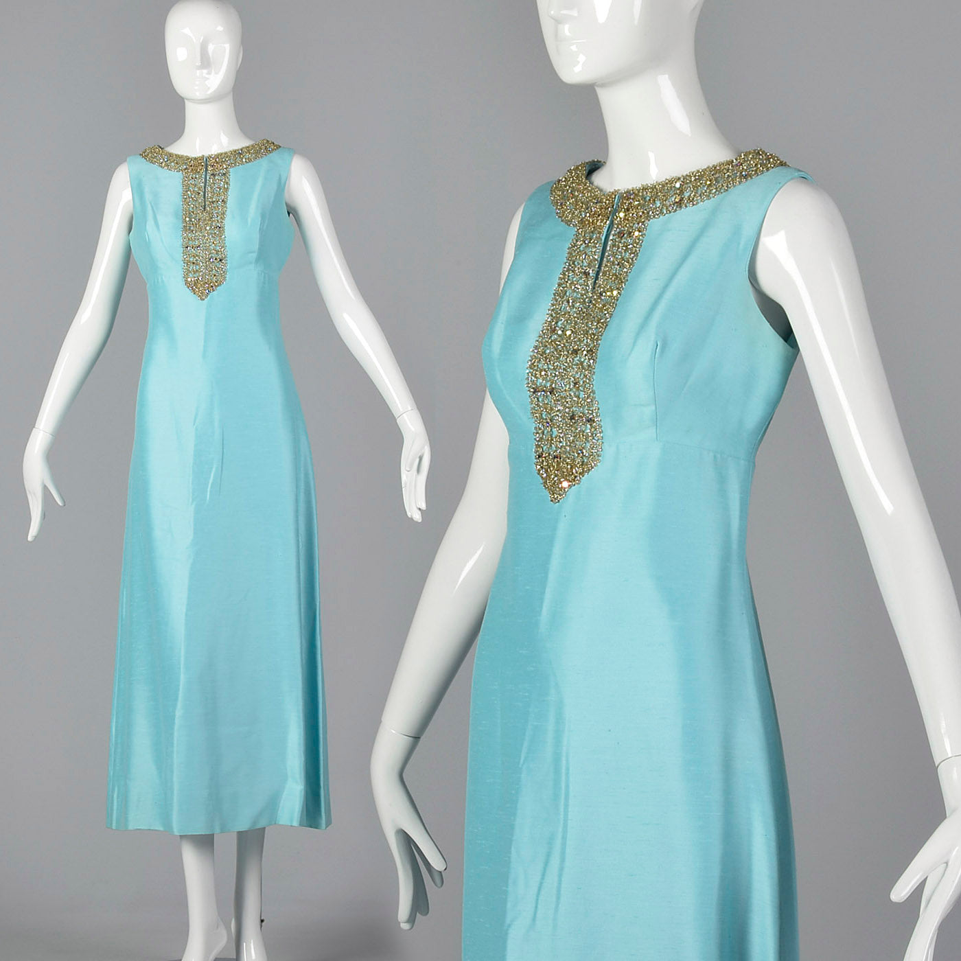 1960s Blue Maxi Dress with Keyhole Bust