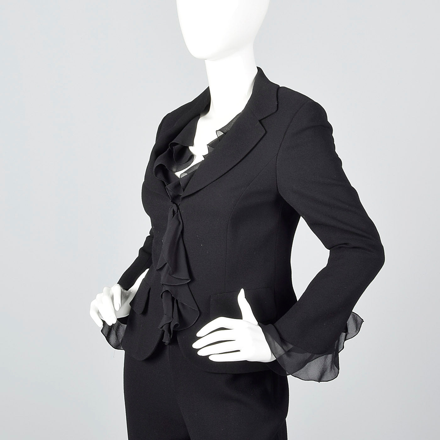 2000s Escada Couture Black Wool Crepe Pant Suit
