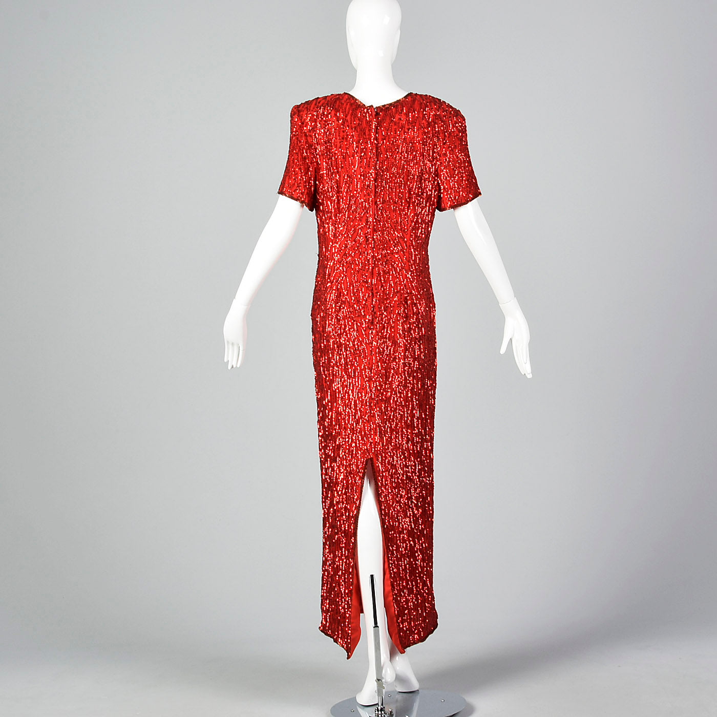 1980s Red Sequin Party Dress