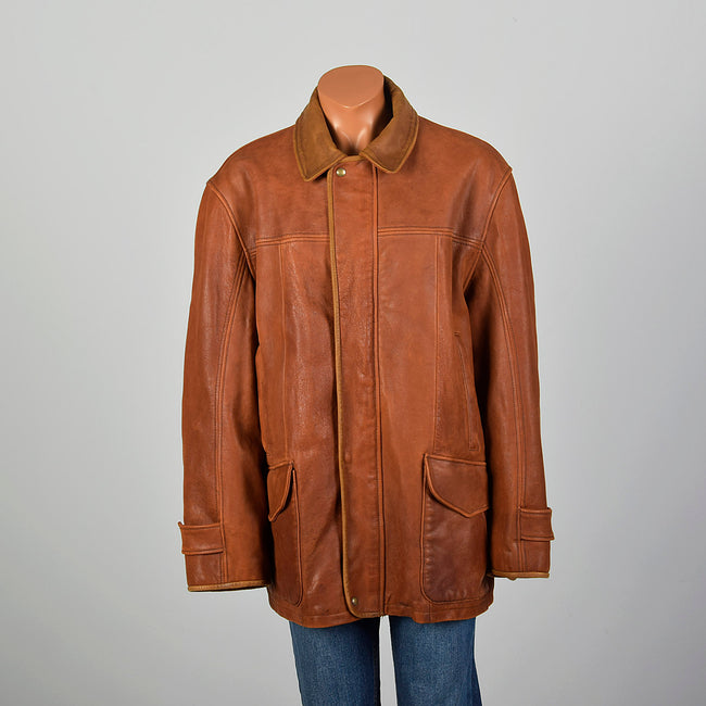 XL-XXL Mens Orvis Light Brown Leather Jacket