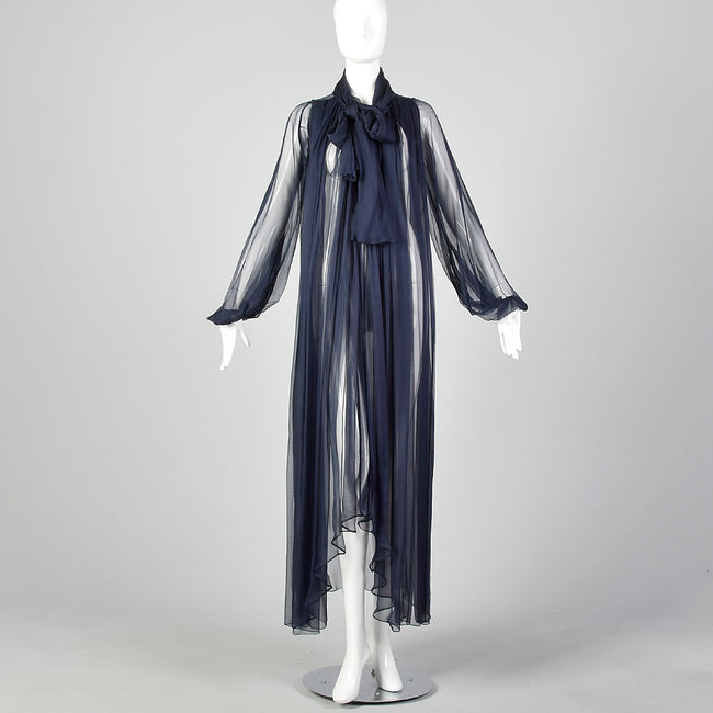 1970s Elegant Silk Chiffon Coat in Navy Blue