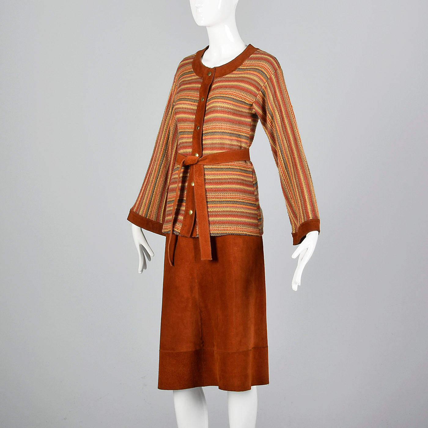 1960s Pierre Cardin Bohemian Separates Leather Skirt & Cardigan Sweater