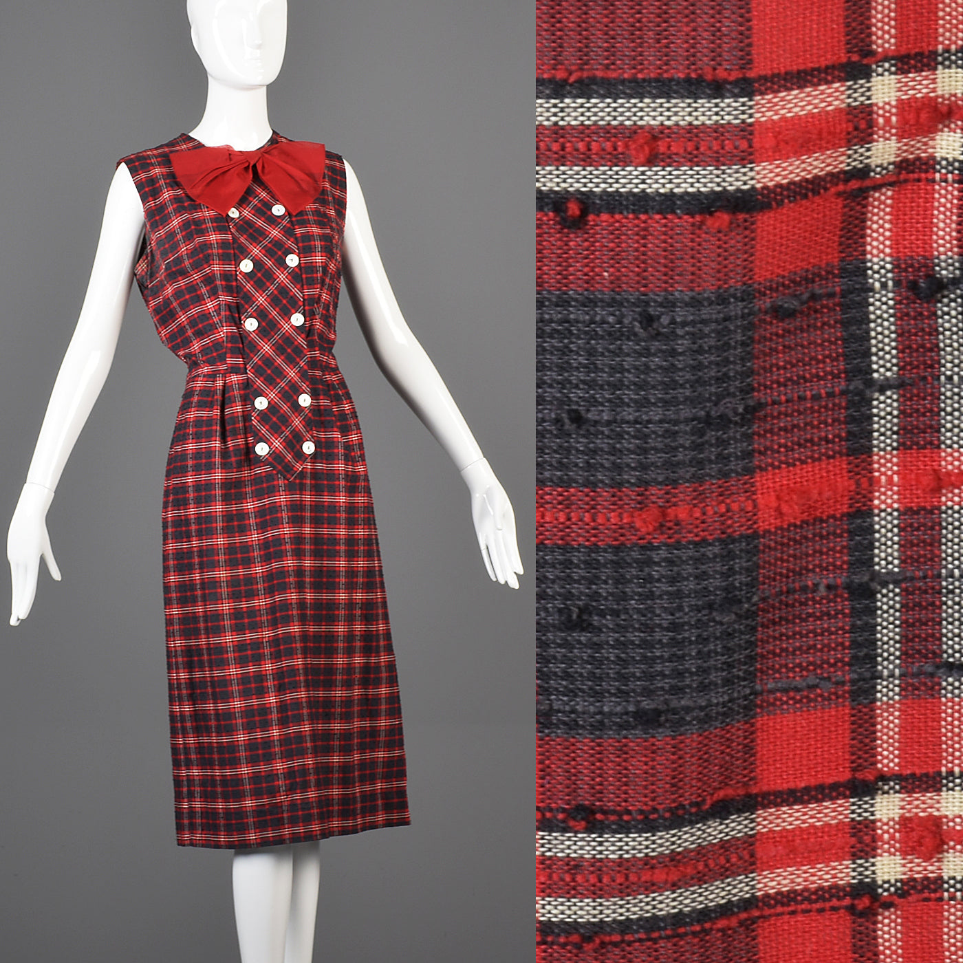 1950s Red Plaid Party Dress with Red Bow