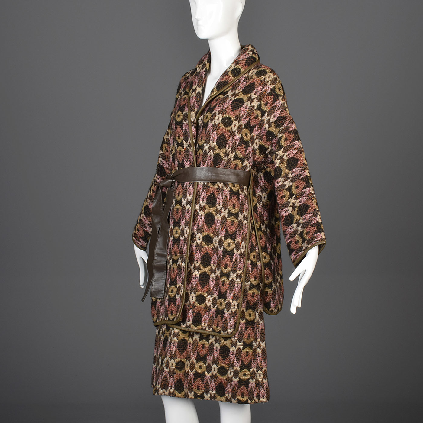 Late 1960s Bonnie Cashin Sills Bohemian Tweed Separates with Leather Trim