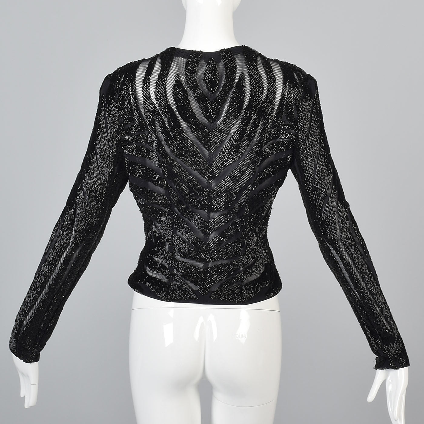 Heavily Beaded Black Stretch Mesh Body Con Evening Jacket Sheer with Zebra Stripes