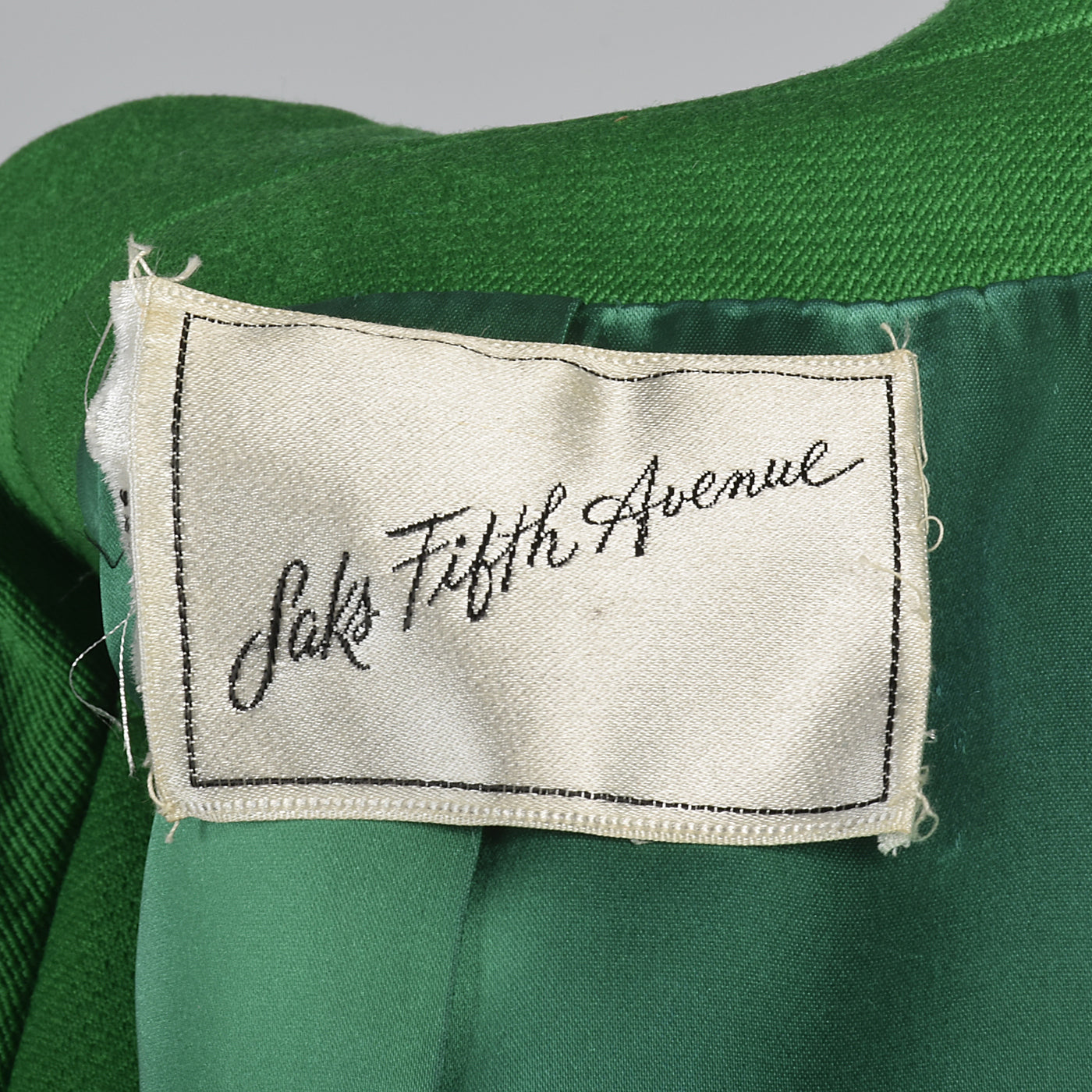 1960s Show Stopping Kelly Green Maxi Coat from Saks Fifth Avenue