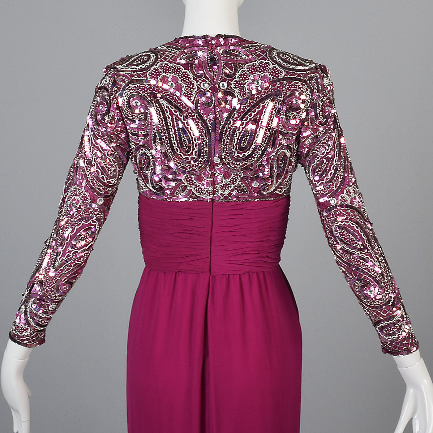 Naeem Khan Pink Silk Dress with Beaded Bodice