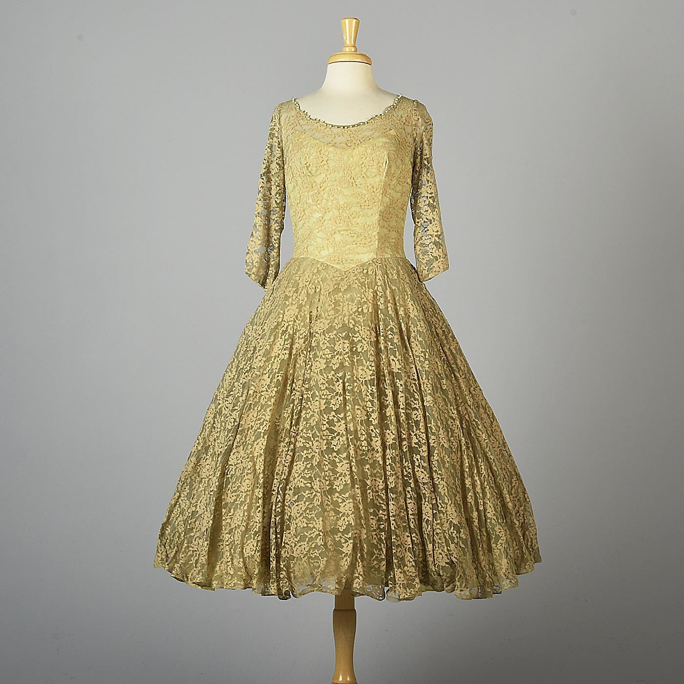 1950s Emma Domb Lace Party Dress