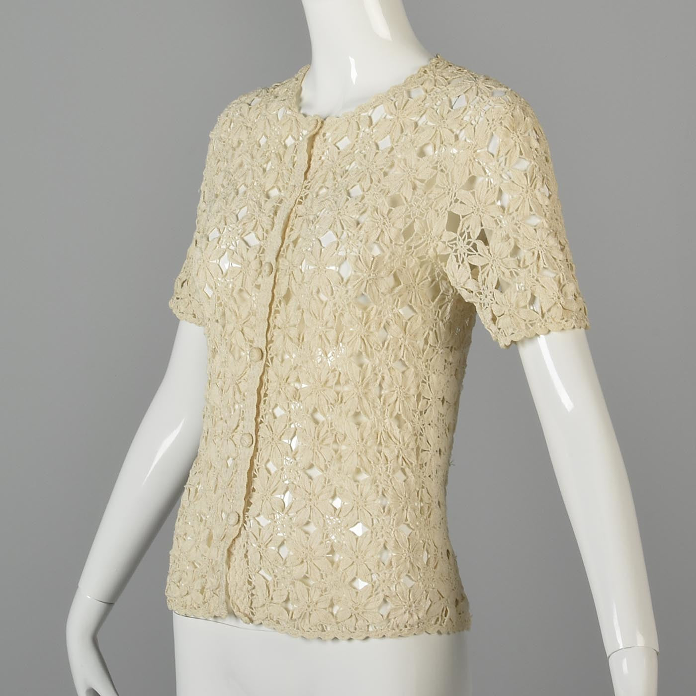 1960s Cotton Crochet Cardigan with Floral Design