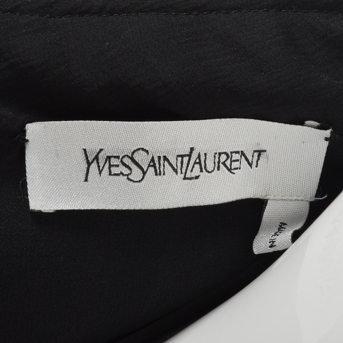 Yves Saint Laurent Black Velvet Dress with a Silk Chiffon Sash & Keyhole Waist