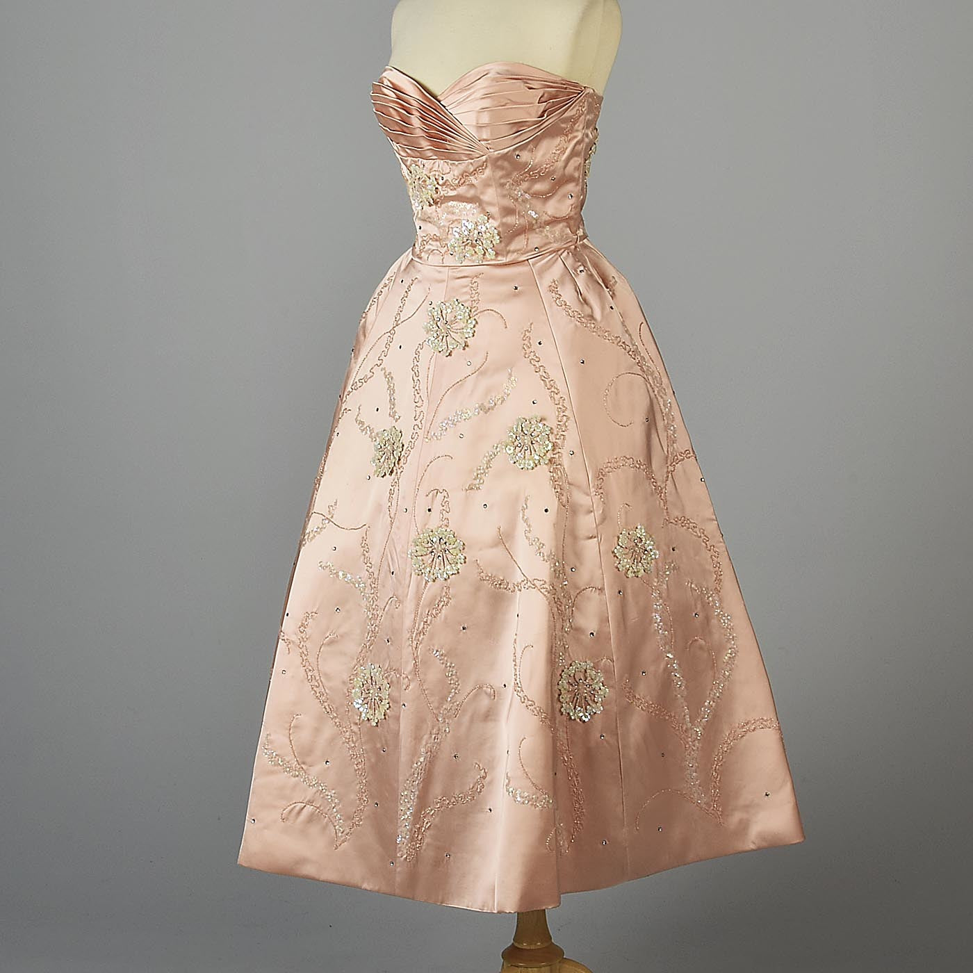 1950s Pink Silk Satin Gown with Three Dimensional Beading from Marshall Field's 28 Shop