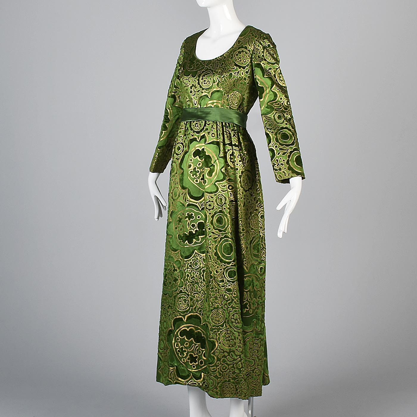 1970s Emerald Green Silk Lisa Meril Tissu Staron Evening Dress with Velvet Flocking & Gold Hand Painted Design