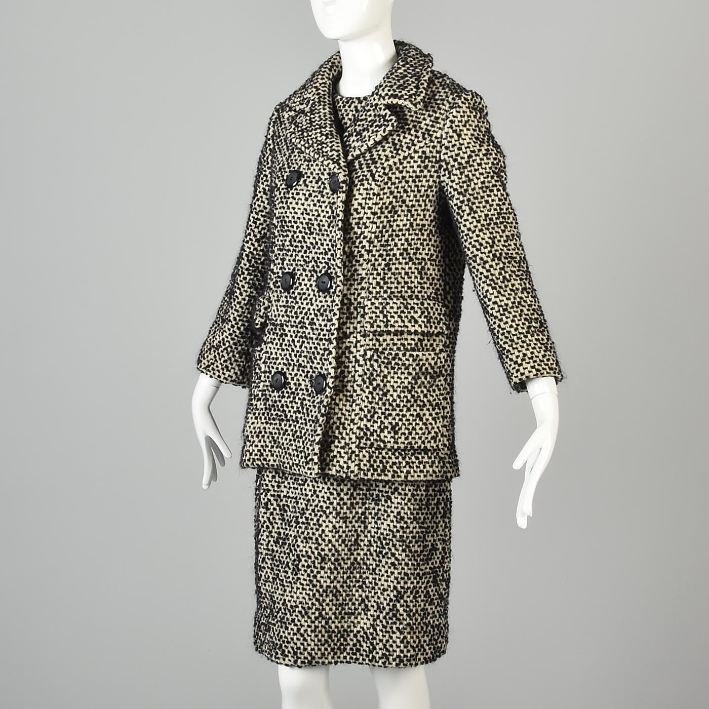 1960s Four Piece Tweed Set with Top, Skirt, Jacket, and Coat