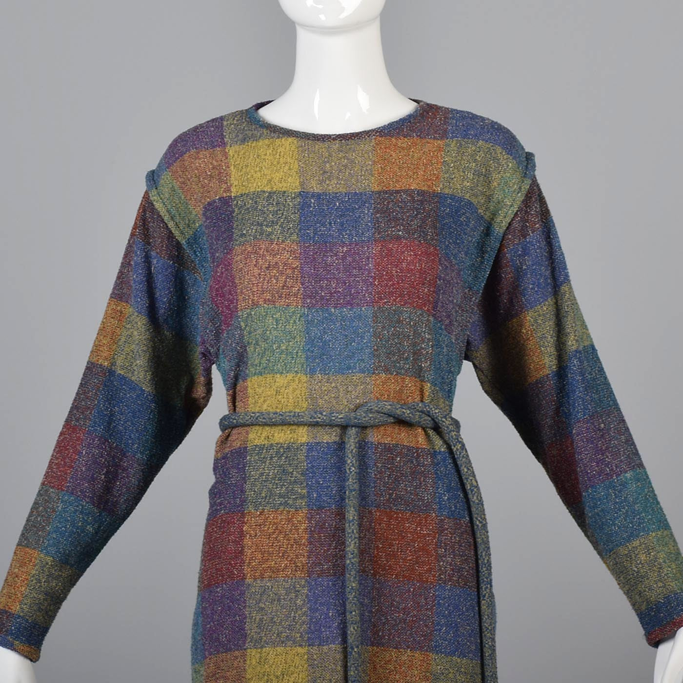 1980s Missoni Belted Shadow Plaid Sweater Dress