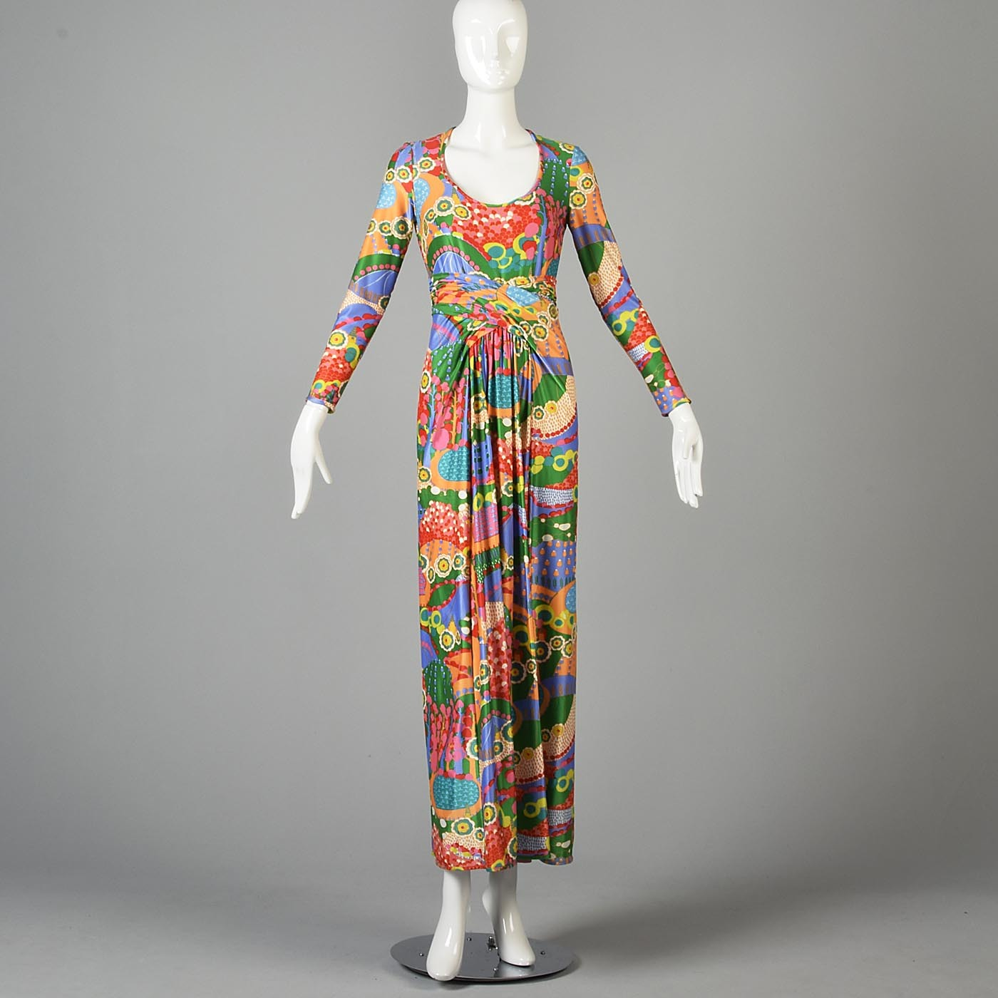 Robert David Morton Maxi Dress in a Signed Psychedelic Print