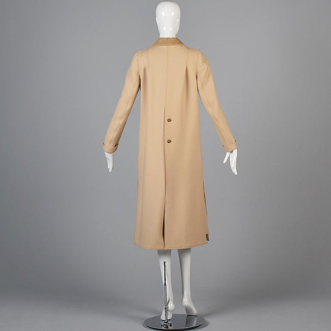 1970s Courreges Camel Coat and Skirt Set with Button Details