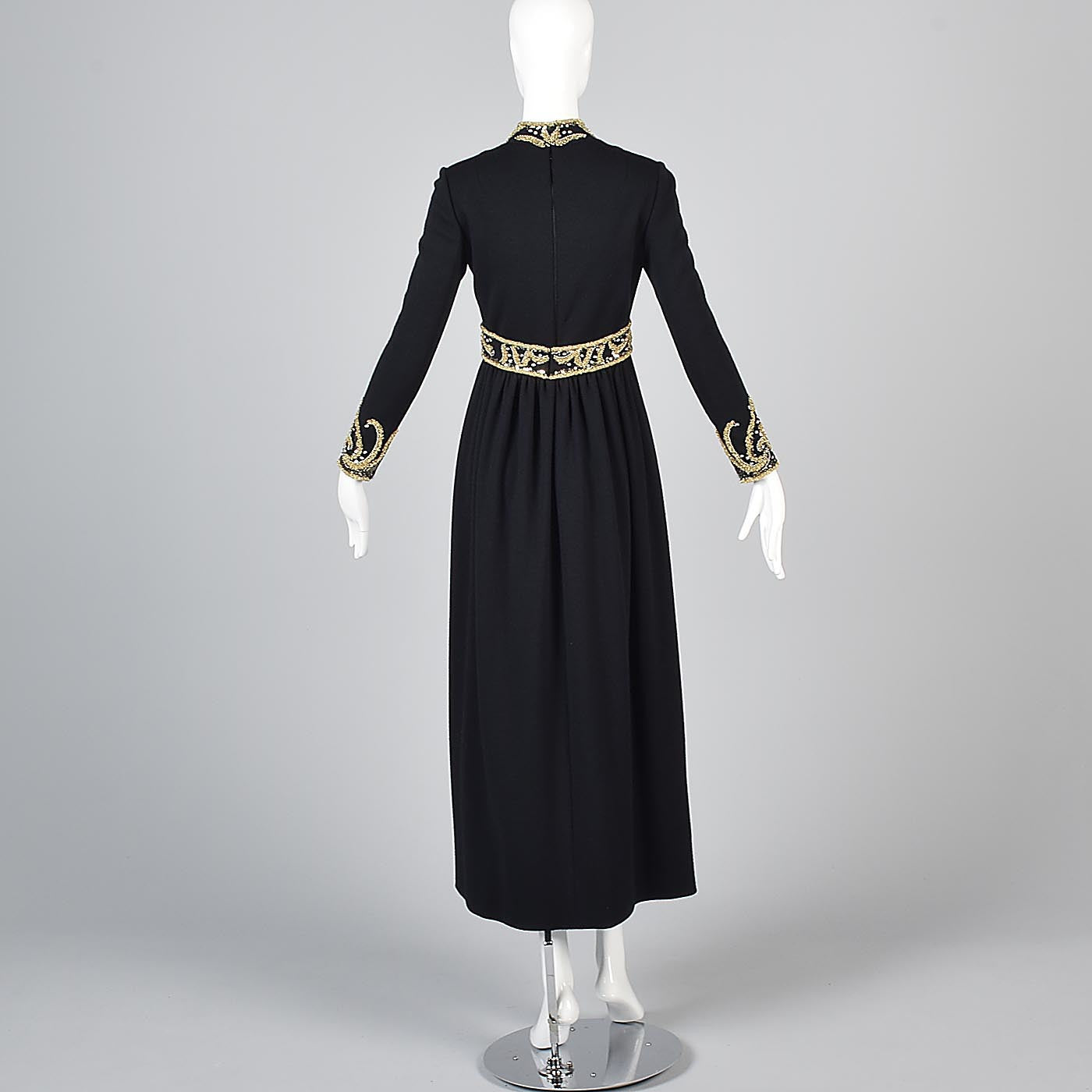 George Halley Black Knit Evening Dress with Beaded Trim