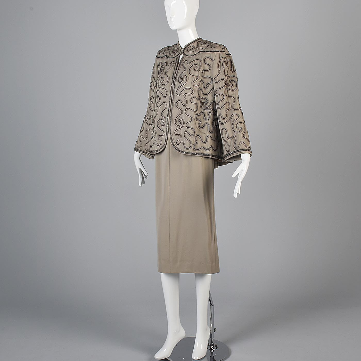 1940s Gabardine Skirt Suit with Swing Jacket