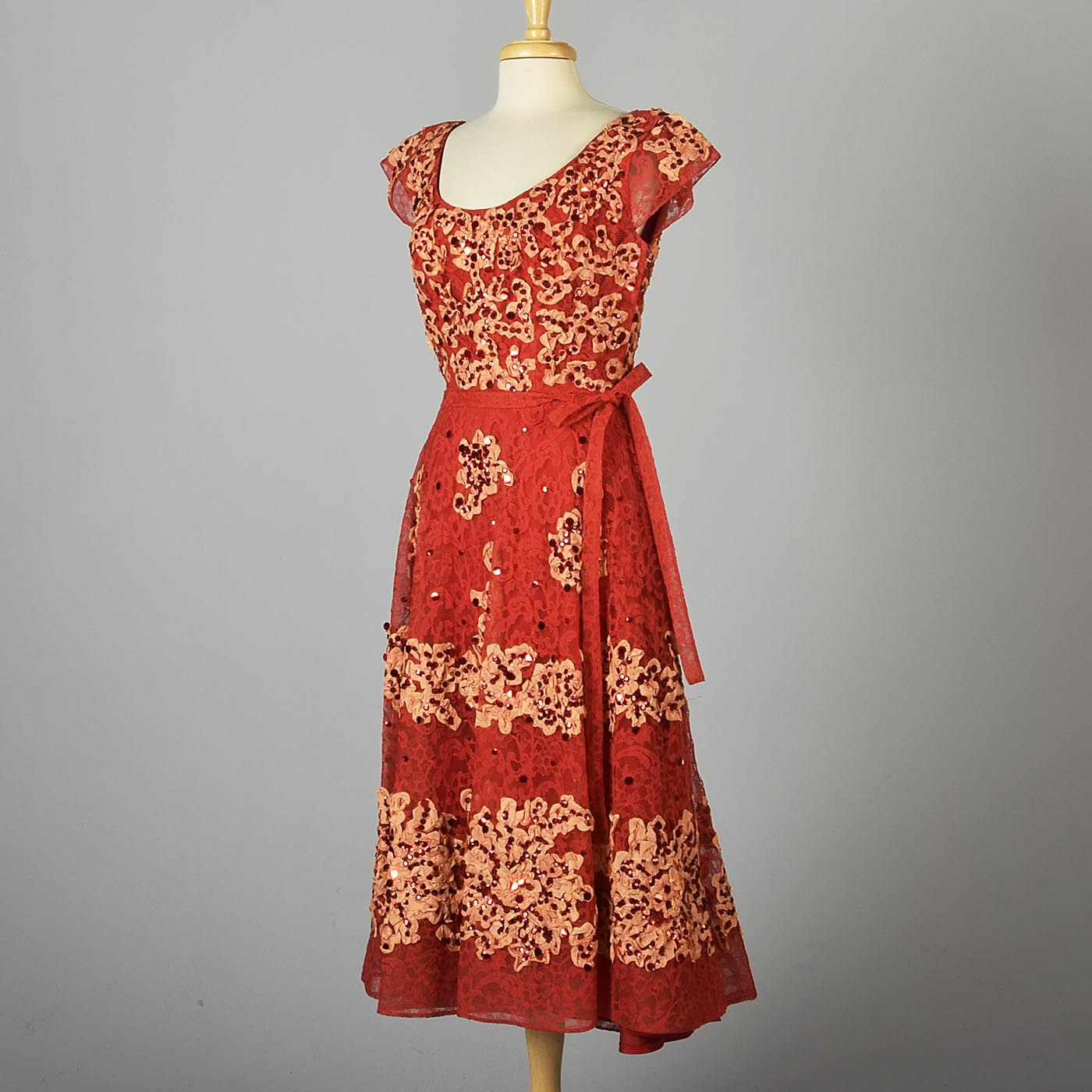 1940s Red Lace Fit & Flare Party Dress by Patric of Miss America