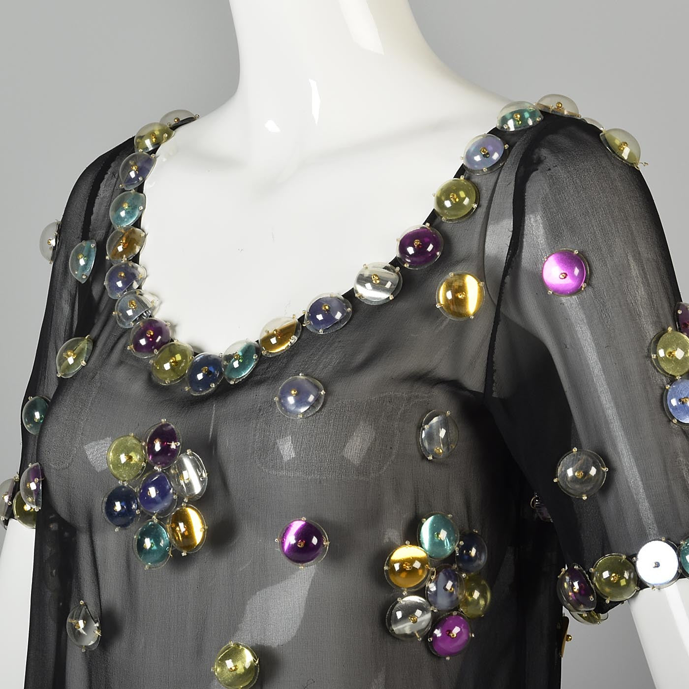 1960s Space Age Mod Sheer Silk Blouse with Bubble Sequins