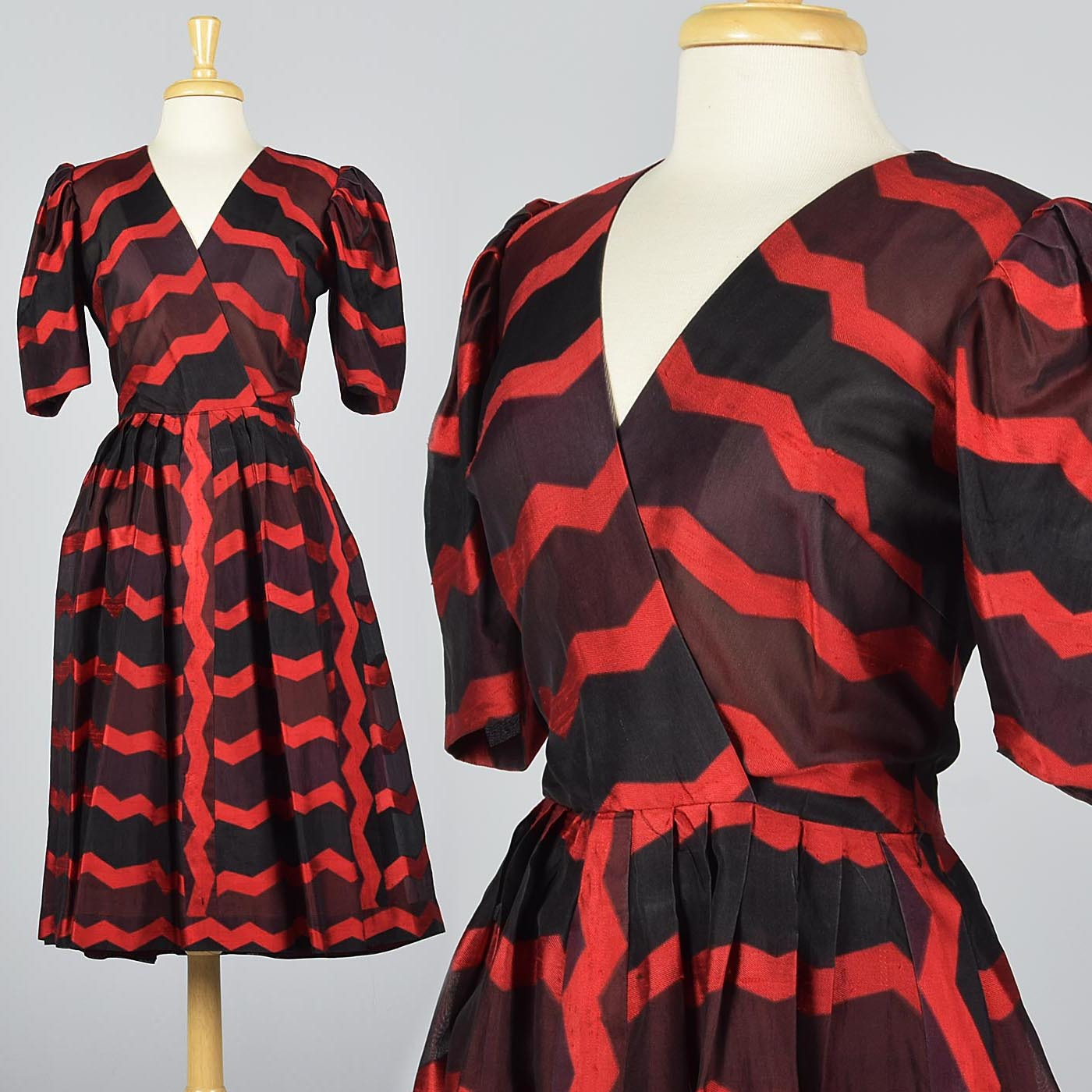 Annie Corvall Paris Silk Cocktail Dress Red & Black Stripe