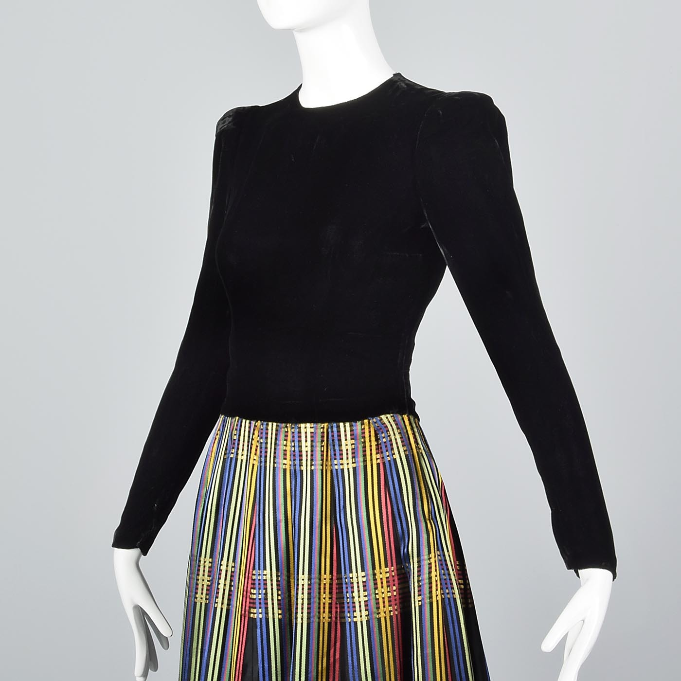 1930s Black Velvet Maxi Dress with Stripe Skirt