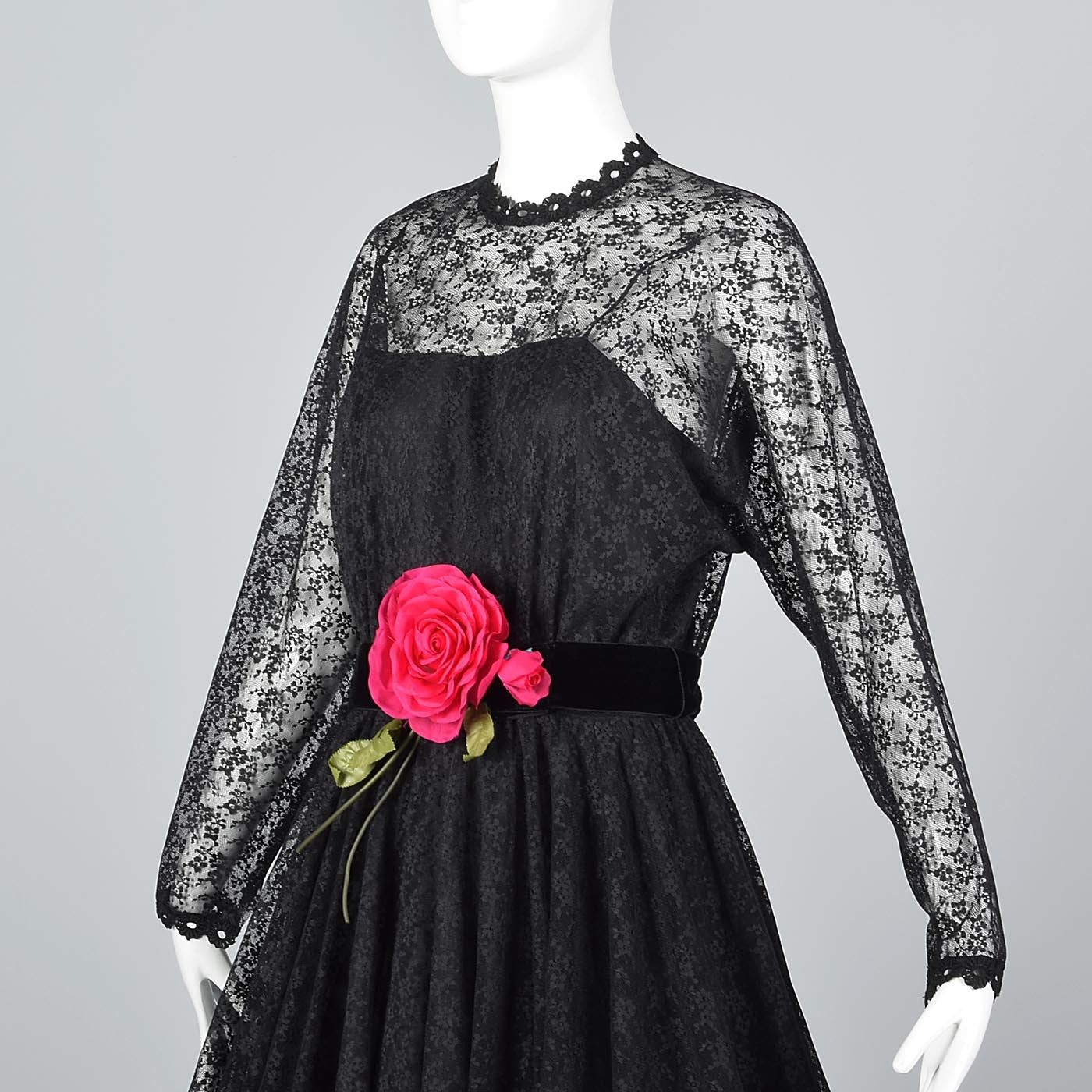 1970s Lilli Diamond Gothic Black Lace Maxi Dress