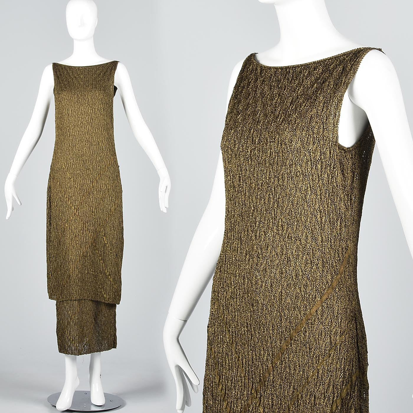 Christian Dior Boutique John Galliano Metallic Gold Evening Dress