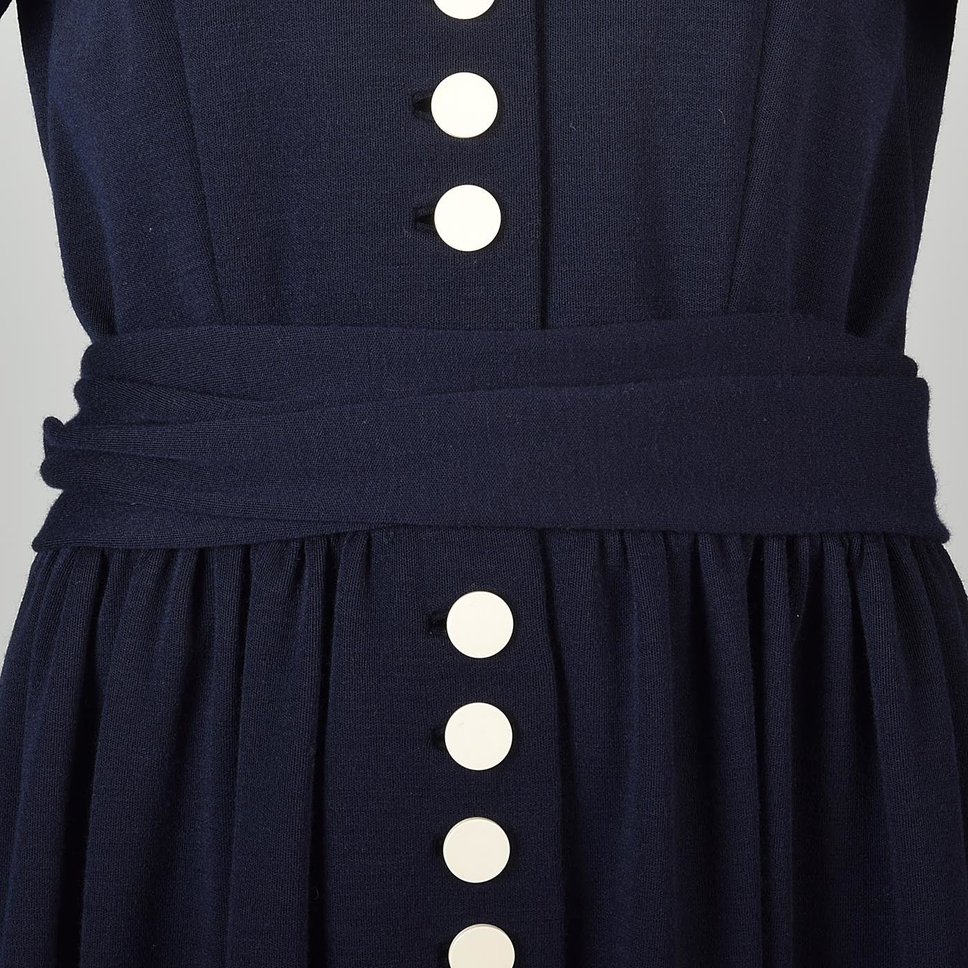 Classic 1960s Normal Norell Navy Blue Dress with White Buttons