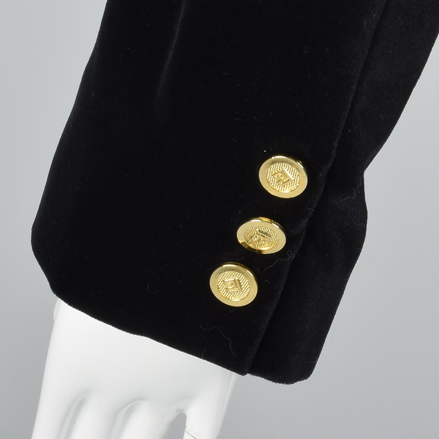 1980s Pierre Balmain Black Velvet Blazer with Logo Buttons