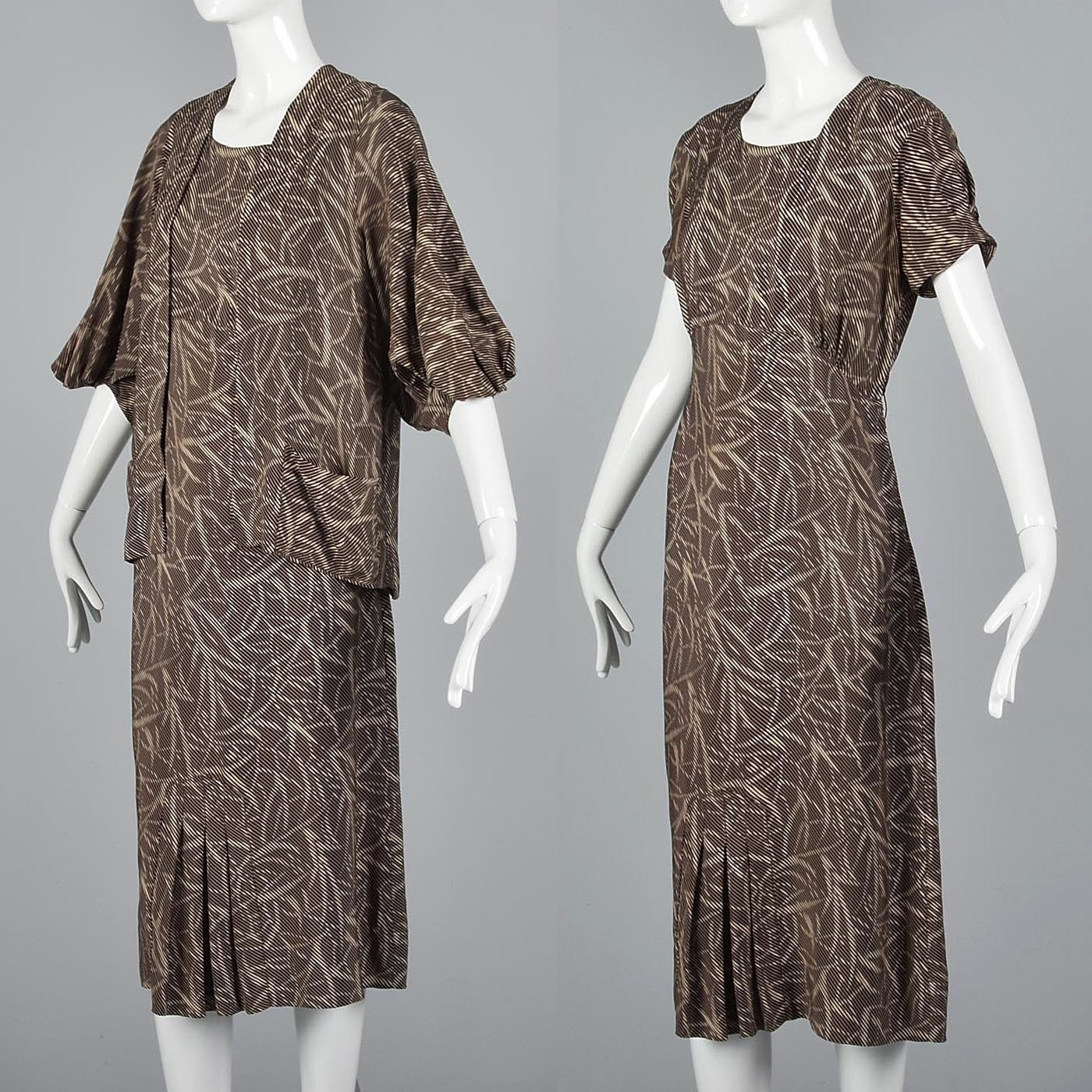 1930s Silk Day Dress & Matching Jacket with Balloon Sleeves