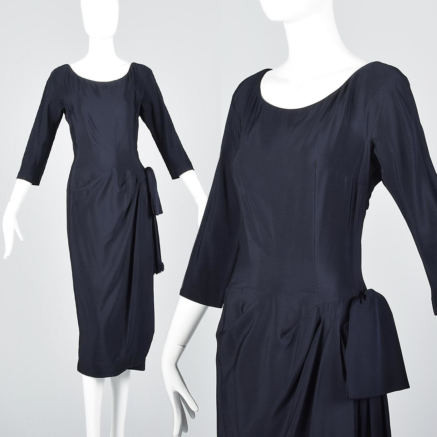 1940s Navy Blue Silk Dress