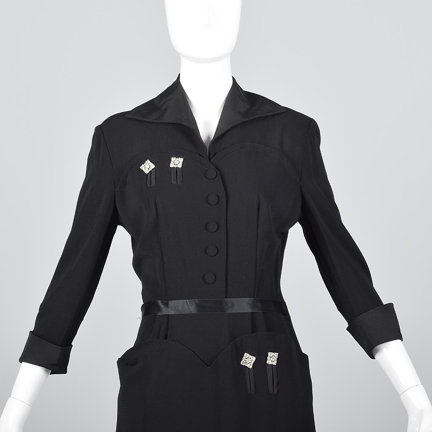 1940s Black Rayon Dress with Rhinestone Details