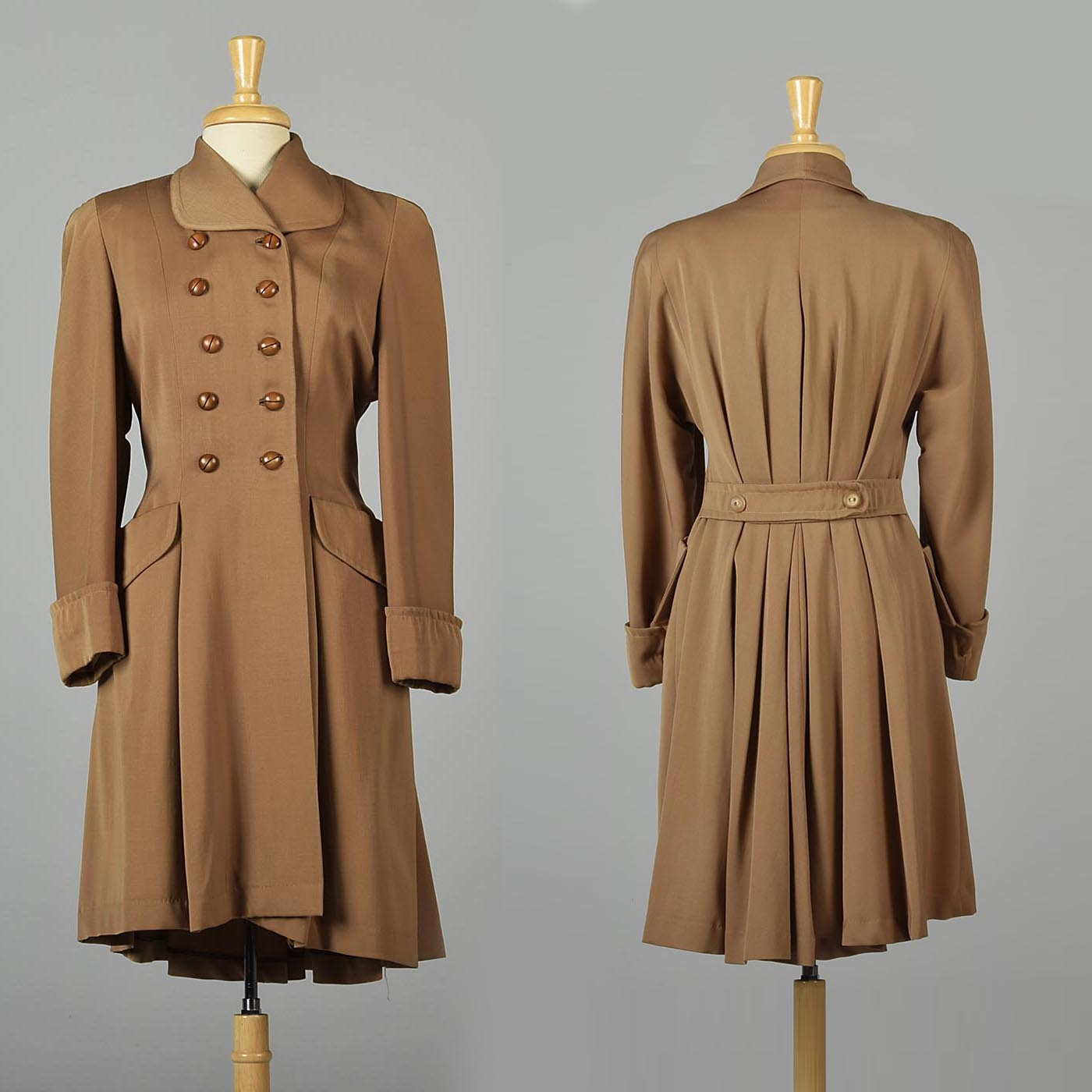 1940s Double Breasted Gabardine Princess Coat