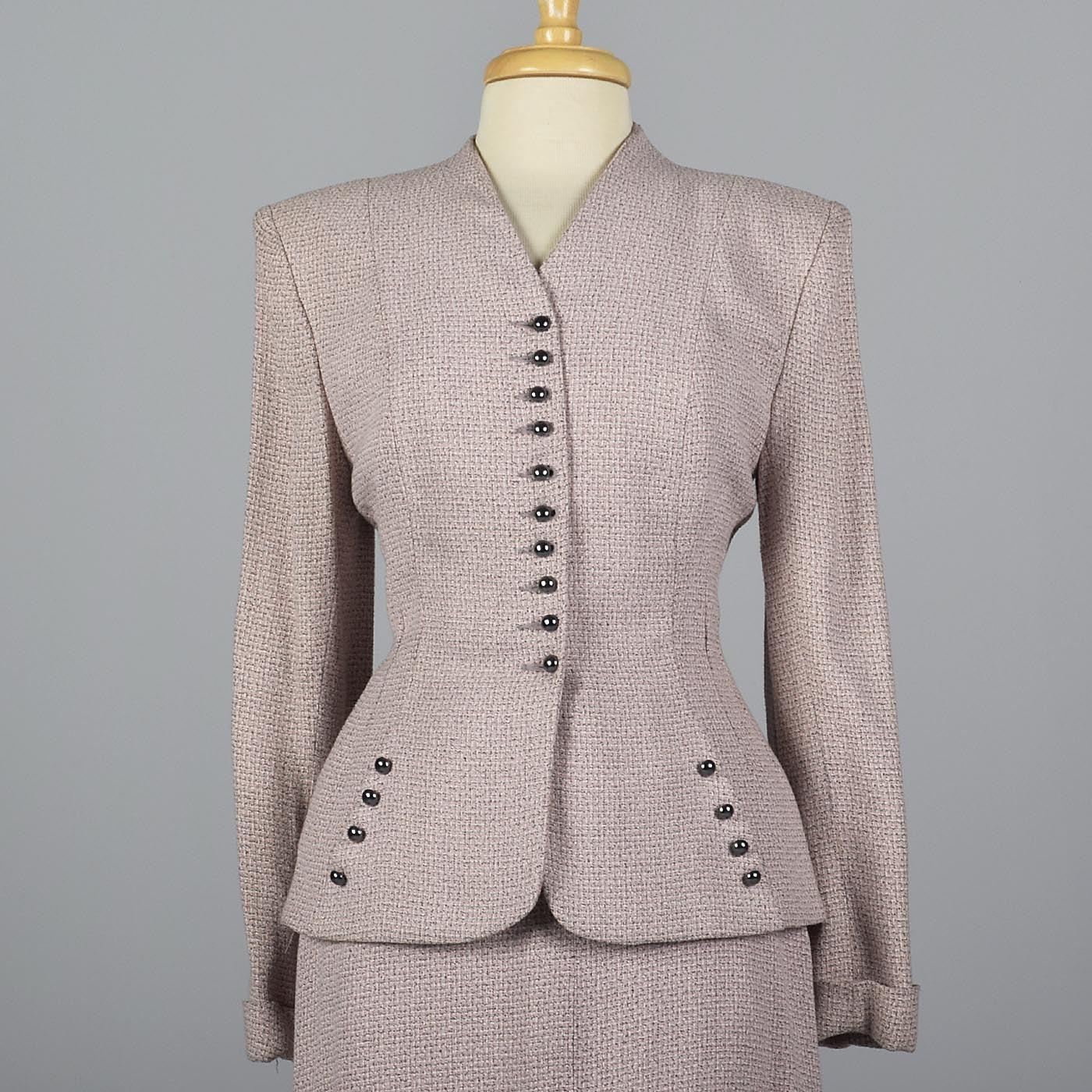 1950s Pink Skirt Suit with Hourglass Silhouette
