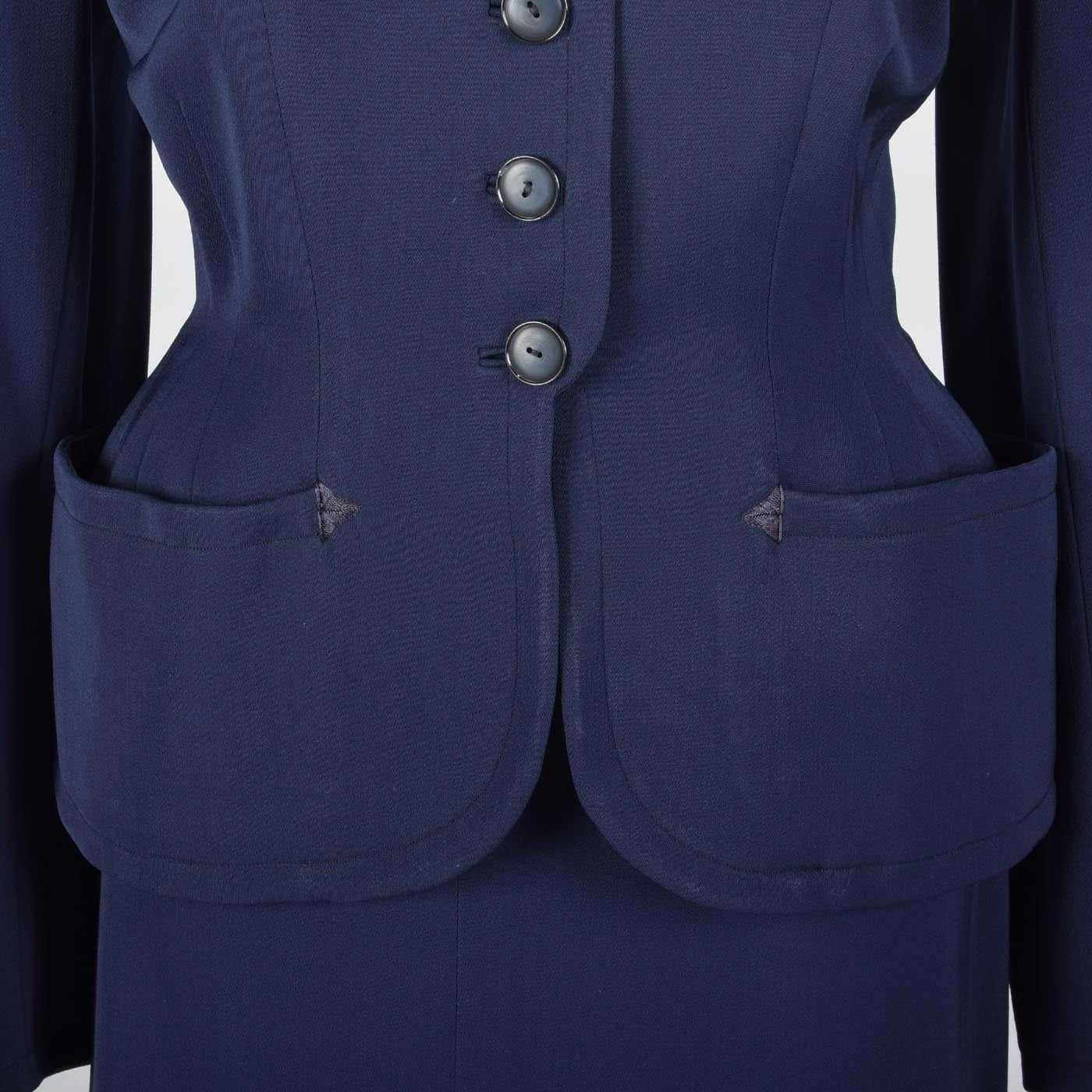 1950s Navy Blue Gabardine Skirt Suit with Shaped Hips & Weighted Hem