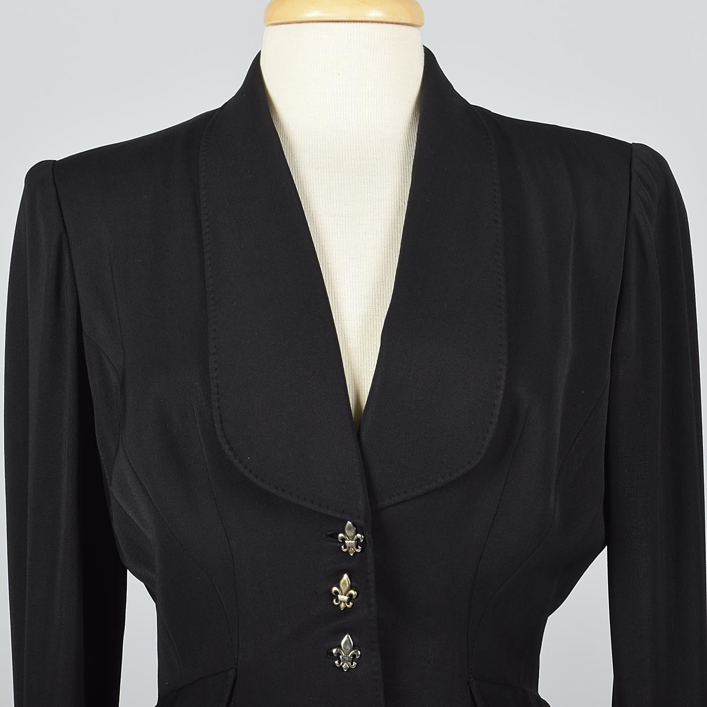 1950s Black Blazer with Shawl Collar
