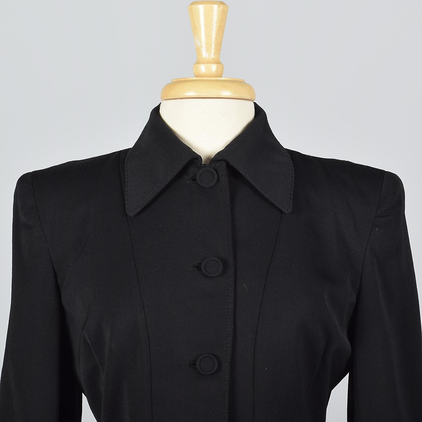 1950s Beautifully Tailored Black Wool Blazer