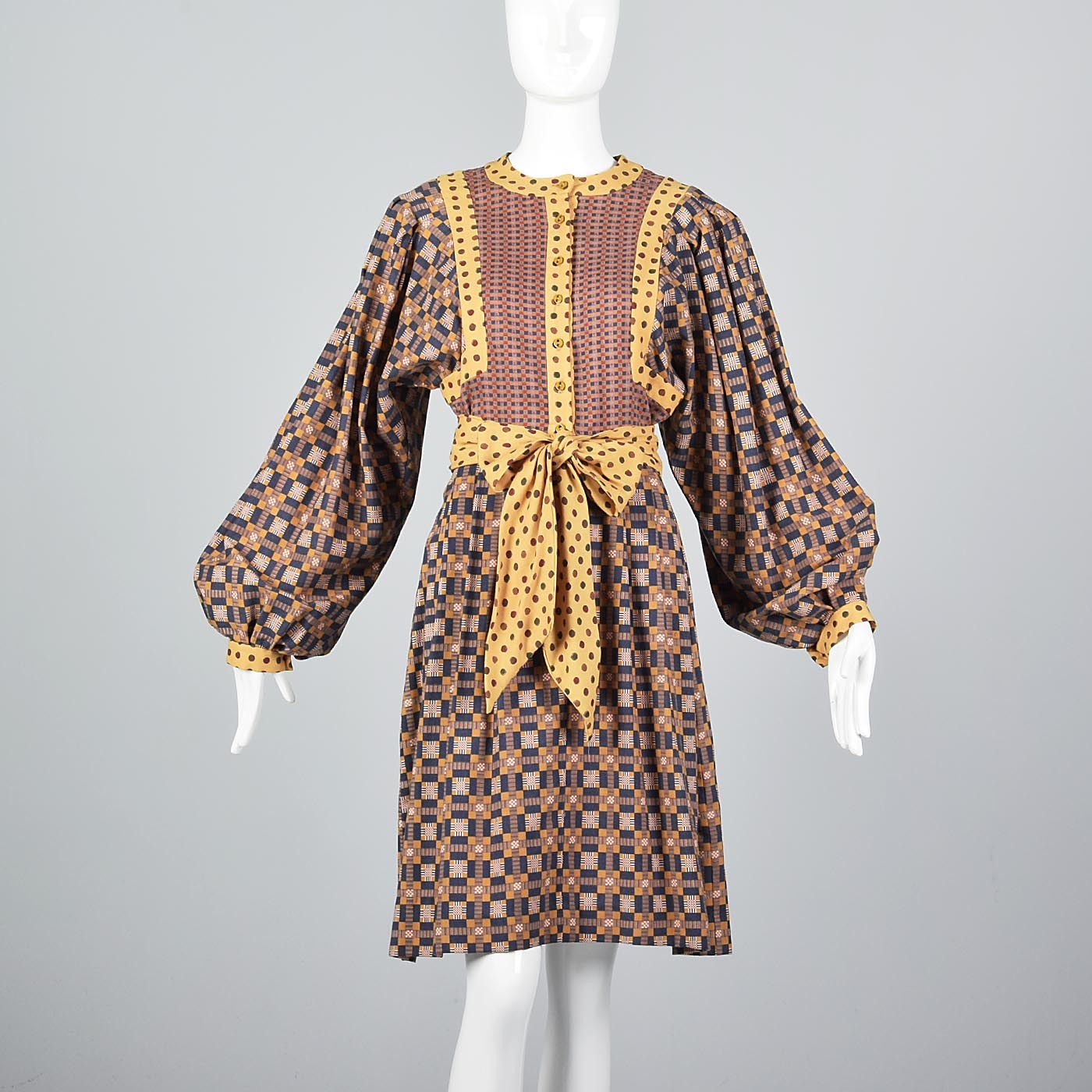 1960s Mary Quant Ginger Bohemian Wool Dress With Bishop