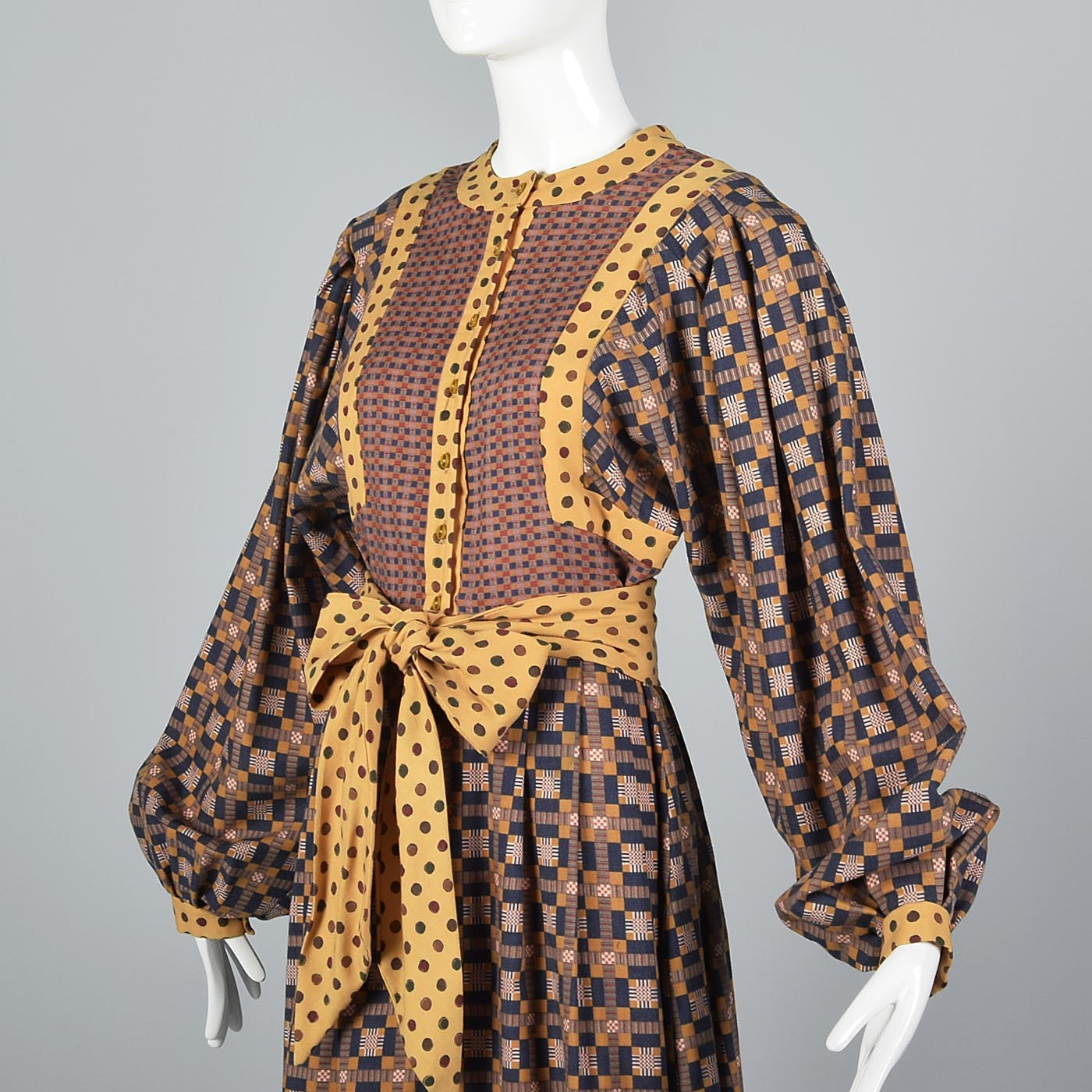 1960s Mary Quant Ginger Bohemian Wool Dress with Bishop Sleeves
