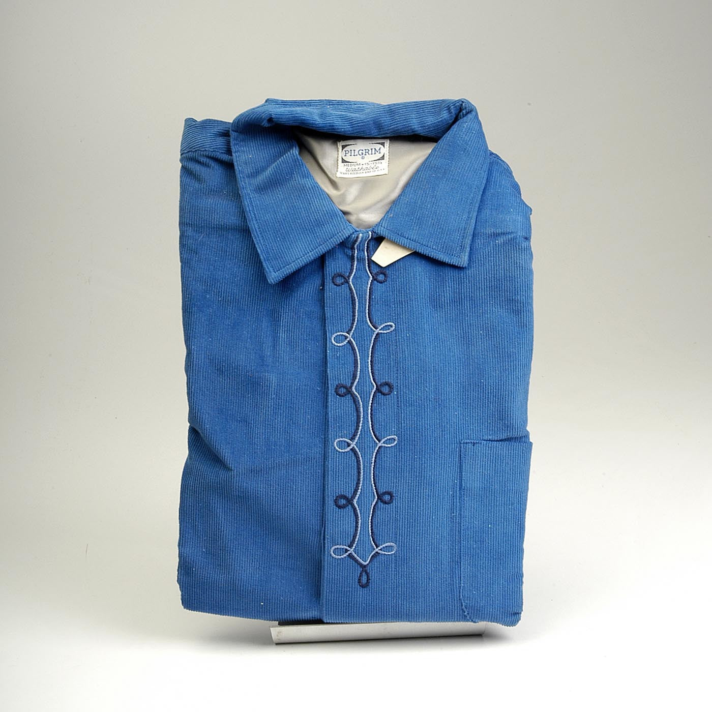 Deadstock 1950s Men's Pilgrim Blue Corduroy Shirt with a Loop Collar
