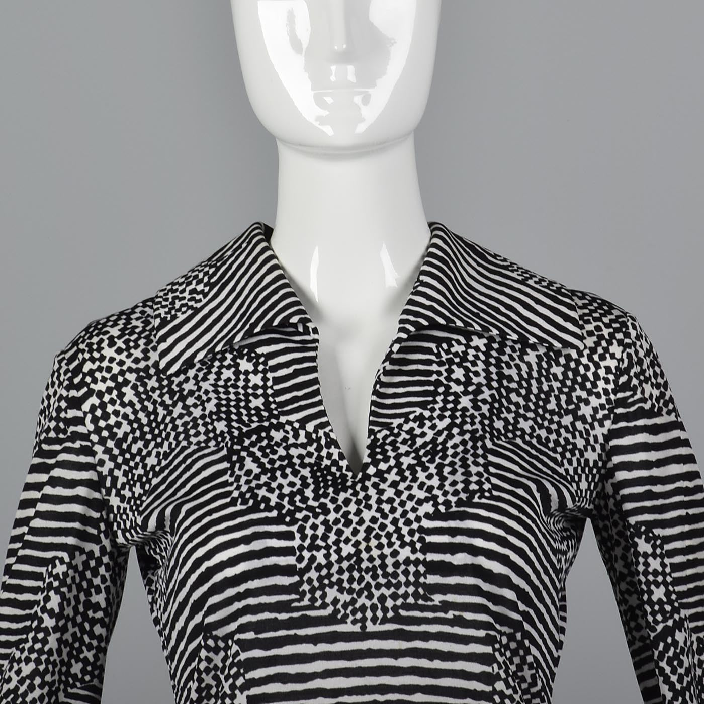 1960s La Mendola Two Piece Seprates Set in Black & White Op Art