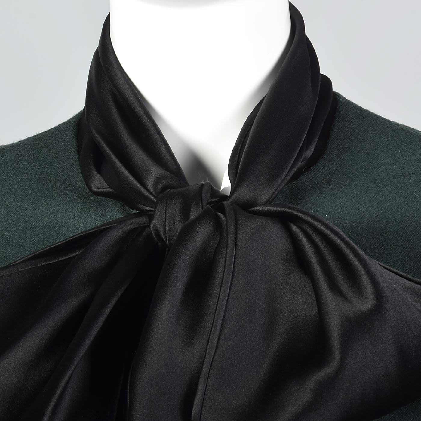 Elegant Galanos Green Wool Dress with Huge Bishop Sleeves
