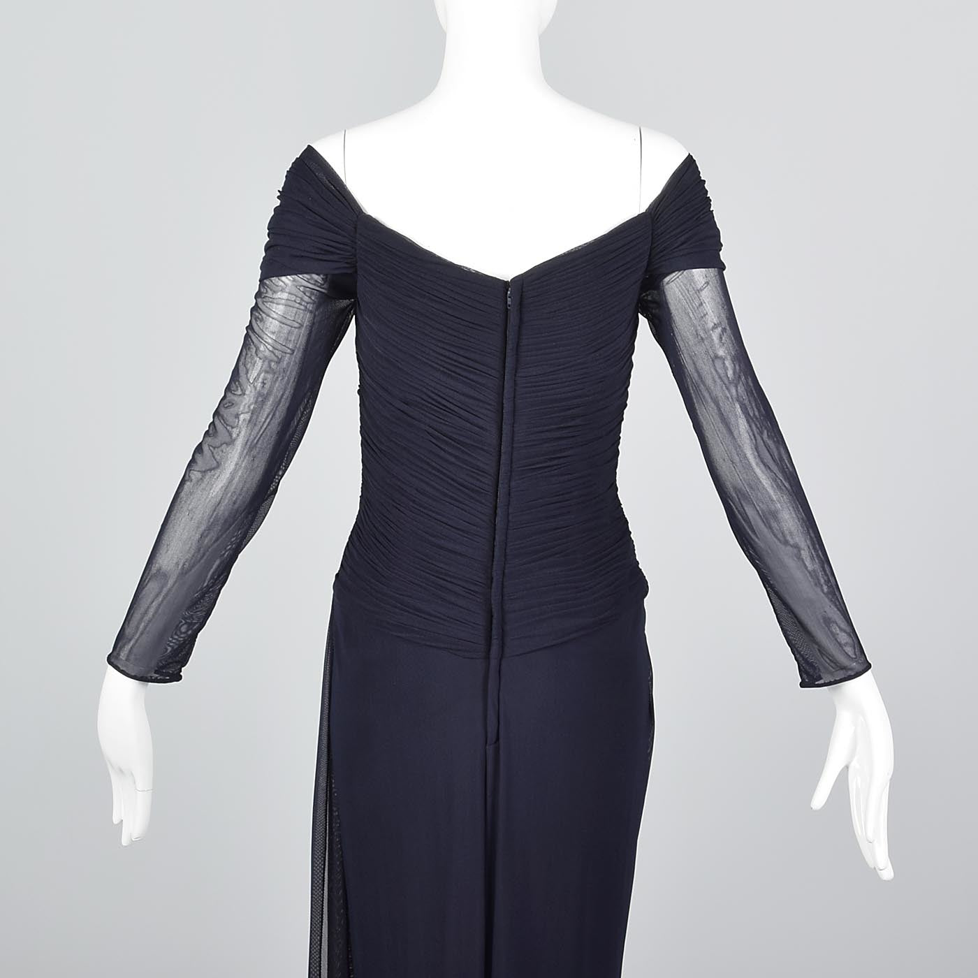 Vicky Tiel Couture Off Shoulder Formal Gown  in Navy Blue Mesh